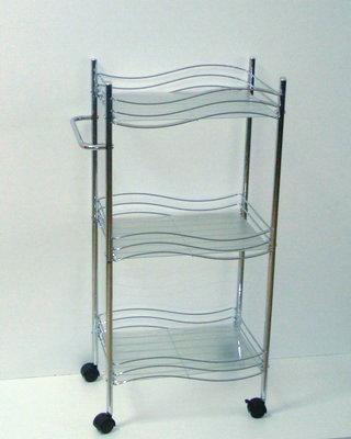 Столик для ванны хром 3 яруса передвижной (Код: 2269) .